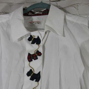 Talbots White Christmas Scotty Shirt sz LG EUC